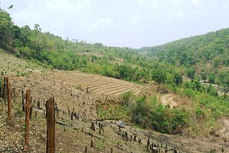 Geography of Thailand - Karen tribe in northern Thailand: controlled burn in the foreground and agricultural terraces.