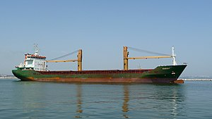 English: The cargo ship Karsoy (IMO 9555618). ...