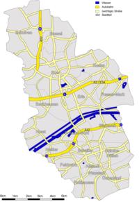 Highways and main roads in Gelsenkirchen