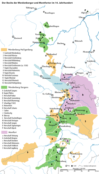 Werdenberg (Holy Roman Empire) - Territories of the counts of Werdenberg, Werdenberg-Sargans and Montfort in the 14th century