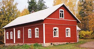 Falu red - A traditional Finnish falu red log house in Äänekoski, Central Finland