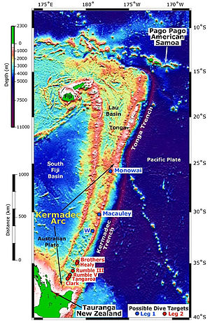 Kermadec Trench - Map of the Kermadec Trench and Tonga Trench, north of New Zealand, near Fiji, Tonga and American Samoa.  To its immediate west lies the Kermadec Ridge, which is separated by the nearly parallel Colville Ridge by the Havre Trough and Lau Basin.