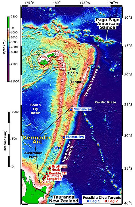 Tonga Trench south of the Samoa Islands and north of New Zealand. Kermadec Arc.jpg