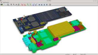 KiCad - KiCad 3D Viewer showing both VRML and IDF features on a demo board