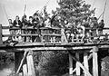 Kids, fishing, tableau, bridge, wooden structure Fortepan 25094.jpg