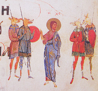 Cynocephaly - Cynocephali illustrated in the Kievan psalter, 1397