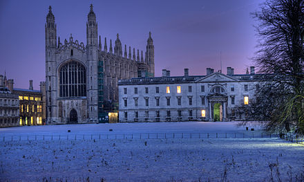 King's College Chapel, Cambridge (left) in the snow where the Nine Lessons and Carols are broadcast on the BBC and around the world on Christmas Eve Kings College Chapeljh.jpg