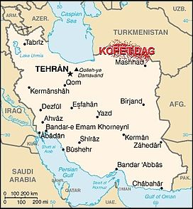Map of Iran showing the location of Kopet Dag.
