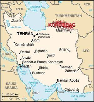 Kopet Dag - Image: Kopet dag iran map
