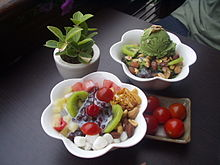 Korean shaved ice-Patbingsu-Nokcha bingsu-Cherry tomatoes.jpg