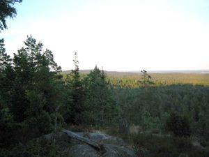 Dalsland - View from the Kroppefjäll tableland, wherein an enclosed area is designated as nature reserve.