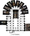 Kutná Hora - Groundplan of St.Barbara Church explaining the whereabouts of the Stained Glass Windows.jpg