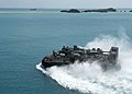 LCAC approaches USS Bonhomme Richard at White Beach, Japan. (9950701406).jpg