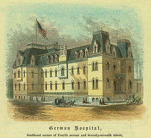 A colored postcared image of a building identified as the German Hospital with the mansard roof