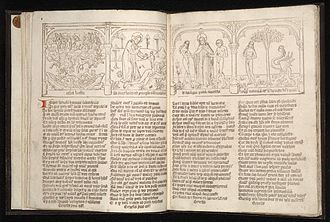 Speculum Humanae Salvationis - Opening from a mixed blockbook and movable type Netherlandish edition, ca 1470