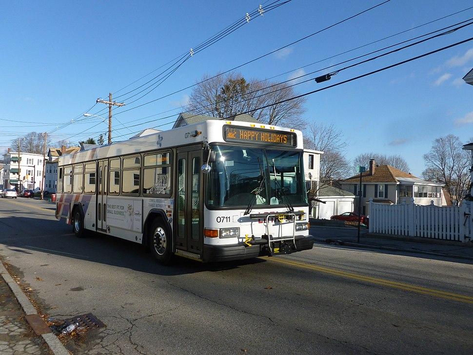 LRTA bus along Stevens Street at Light Avenue; Lowell, MA; 2011-12-08