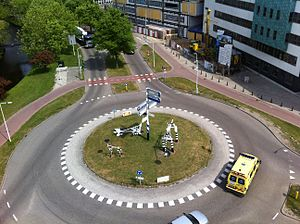 Roundabout - Roundabout at Leiden University Medical Center in the Netherlands, with modern art animals on the central island, and an apron that can be used by large trucks
