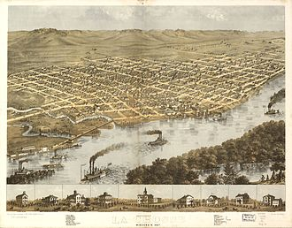 La Crosse, Wisconsin - Artists representation of La Crosse in 1867.