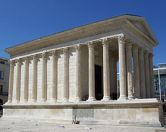Cella - The Maison Carrée at Nîmes with its cella offset behind the hexastyle portico.