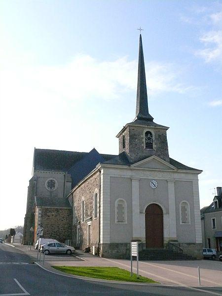 Saint-Victor's church of La Pouëze (Maine-et-Loire, Pays de la Loire, France).