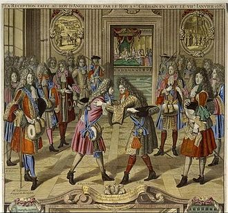 Engraving showing Louis XIV greeting the exiled James II in 1689 La Reception faite au Roy d'Angleterre par le Roy a St. Germain en Laye le VIIe janvier 1689.jpg