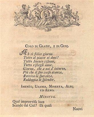 Giovanni Ambrogio Migliavacca - First page of La reggia d'Imeneo, Migliavacca's last known libretto