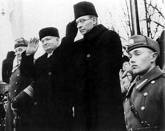 Konstantin Päts - Estonia's leaders before the Soviet occupation, celebrating the country's Independence Day for the last time, on 24 February 1940. From left General Johan Laidoner, President Konstantin Päts and Prime Minister Jüri Uluots.