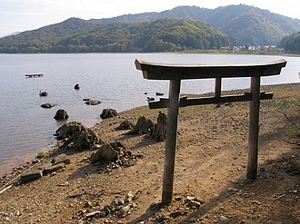 Submerged torii from the former location of Hibara Village