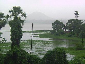 Powai Lake -  Powai Lake Mumbai overflowing after rains of 26 and 27 July 2005