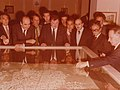 Lambros Eutaxias, Constantinos Mitsotakis and Franz Josef Strauss at the Athens City Museum grand opening, 1980.jpg