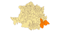 Las Villuercas; location in Cáceres Province