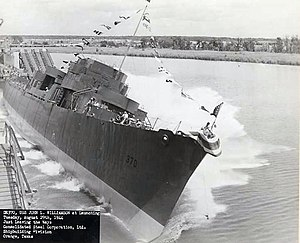 Launch of USS John L. Williamson (DE-370) at Consolidated Steel, Orange, Texas (USA), on 29 August 1944 (80-G-268398)
