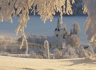Jämtland County - Image: Laxsjö kyrka vinter