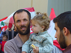2006–08 Lebanese protests - Father and daughter during the demonstration on December 1, 2006