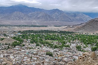 Leh - Leh City View from Namgyal Tsemo Monastery along with leh palace
