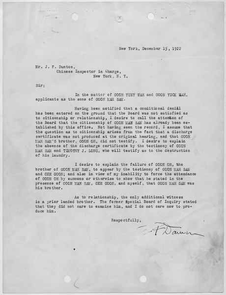 File:Letter discussing the case of Goon Yuey Wah and Goon Yuck Wah. - NARA - 278553.tif