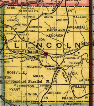 Lincoln County, Oklahoma - 1905 map of Lincoln County showing locations of many of the old communities, post offices, and railroad stops which no longer exist.