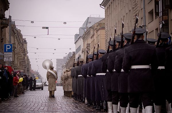 Troops parade to mark the events of March 11 Lithuania, March 11 parade.jpg