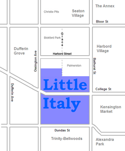 Approximate Little Italy boundaries