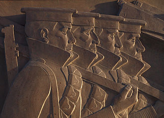 Liverpool Cenotaph - Detail from bronze sculpture depicting marching troops