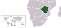 A map showing the location of Zimbabwe