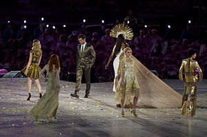 Lily Cole - Cole (second from right) at the 2012 Summer Olympics closing ceremony in London