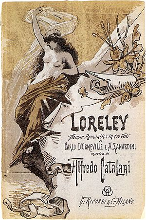 Loreley (opera) - Cover of the libretto published by Ricordi for the world premiere