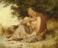 Lorenz Frølich - Mytologisk kvindeskikkelse siddende på stranden med en perlekæde i hånden og en hund ved siden.png