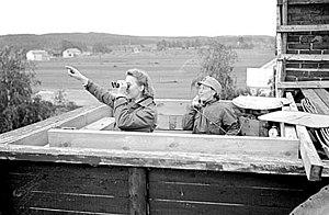 Lotta Svärd - Lottas at an air raid warning post during the Second World War.