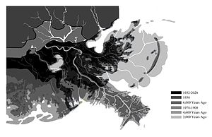 River delta - Lower Mississippi River land loss over time