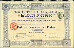 Luna Park, Paris - Share certificate of the Luna-Park, issued 27. September 1909