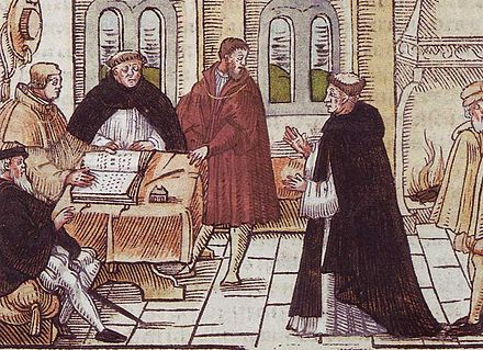 The meeting of Martin Luther (right) and Cardinal Cajetan (left, holding the book) Luther-vor-Cajetan.jpg