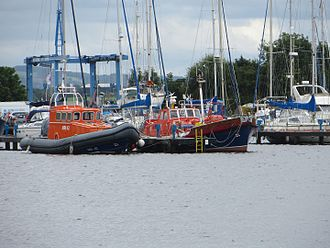 Barnett-class lifeboat - Ramsay Dyce (and Medina-class lifeboat MRI42 to starboard) at Glasson Dock