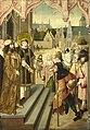 Maître de la Légende de sainte Ursule Cycle de saint Laurent 4. Laurent montre au préfet les trésors de l'église.jpg